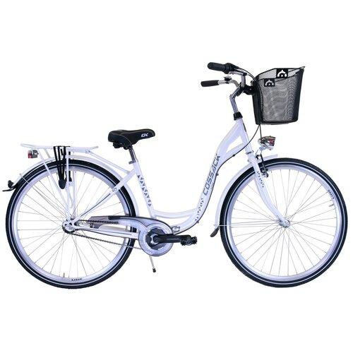 Rower miejski z koszykiem COSSACK Luna 3B 28 cali damski Biały perłowy