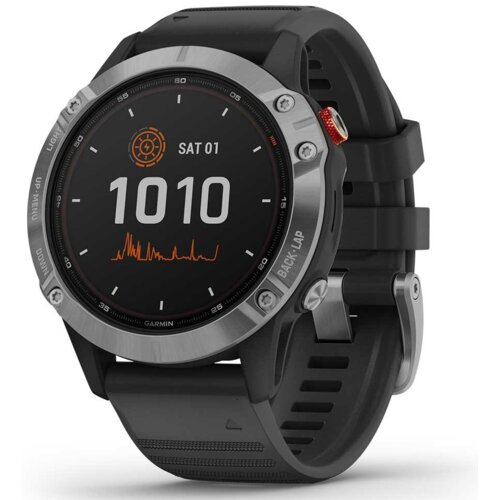 Zegarek sportowy GARMIN Fenix 6 Solar Srebrno-czarny