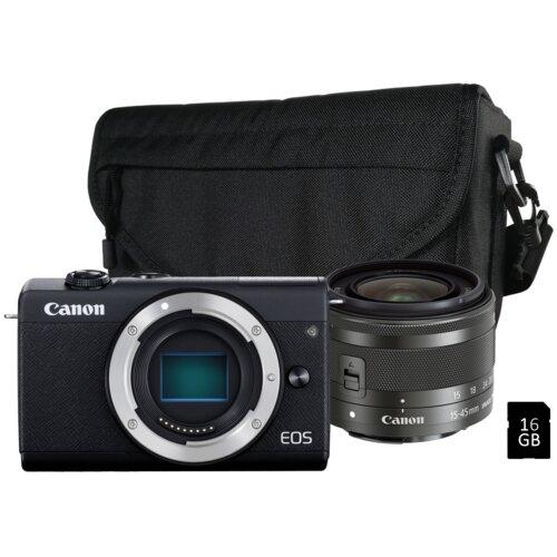 Aparat CANON EOS M200 Czarny + Obiektyw EF-M 15-45 mm f/3.5-6.3 IS STM + Torba + Karta pamięci