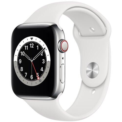 APPLE Watch 6 Cellular 44mm (Srebrny z opaską sportową w kolorze białym)