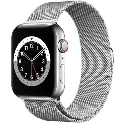 APPLE Watch 6 Cellular 44mm (Srebrny z bransoletą mediolańską w kolorze srebrnym)