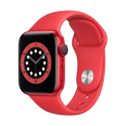 APPLE Watch 6 Cellular 40mm (Czerwony z opaską sportową w kolorze czerwonym)
