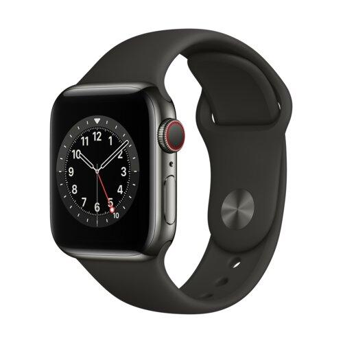 APPLE Watch 6 Cellular 40mm (Grafitowy z opaską sportową w kolorze czarnym)
