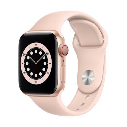 APPLE Watch 6 Cellular 40mm (Złoty z opaską sportową w kolorze różowym)