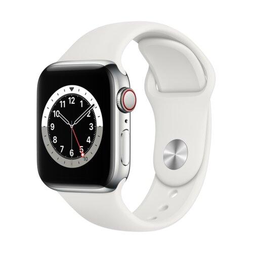 APPLE Watch 6 Cellular 40mm (Srebrny z opaską sportową w kolorze białym)