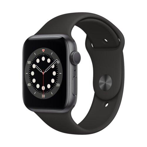 APPLE Watch 6 44mm (Gwiezdna szarość z opaską sportową w kolorze czarnym)