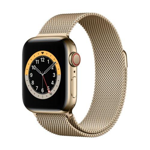 APPLE Watch 6 Cellular 44mm (Złoty z bransoletą mediolańską w kolorze złotym)
