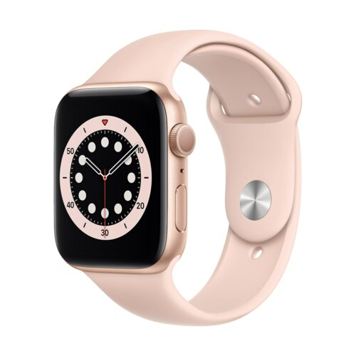 APPLE Watch 6 44mm (Złoty z opaską sportową w kolorze różowym)
