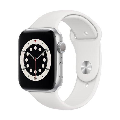 APPLE Watch 6 44mm (Srebrny z opaską sportową w kolorze białym)