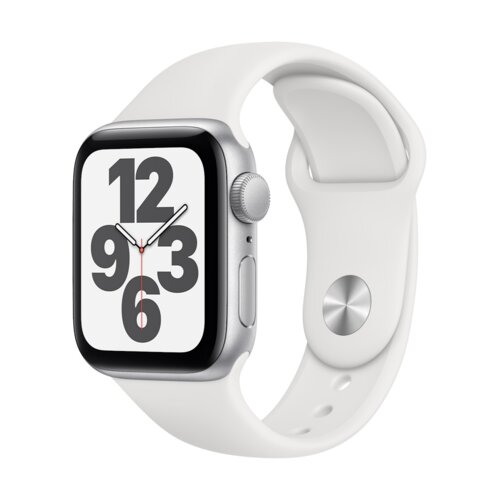 APPLE Watch SE 44mm (Srebrny z opaską sportową w kolorze białym)