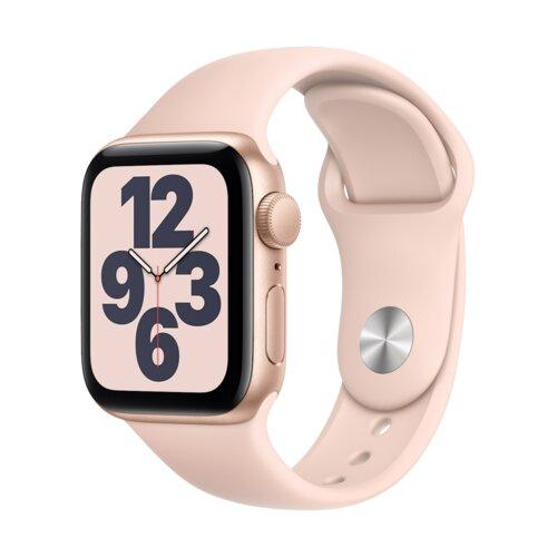APPLE Watch SE 44mm (Złoty z opaską sportową w kolorze różowym)