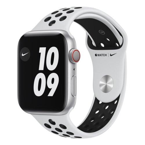 APPLE Watch 6 Cellular Nike 44mm (Srebrny z opaską sportową w kolorze czarnym)