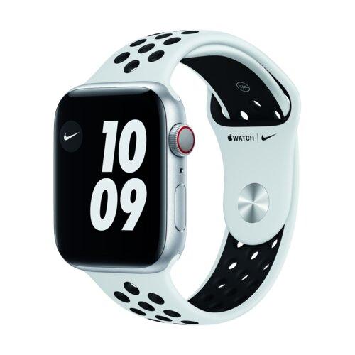 APPLE Watch 6 Cellular Nike 40mm (Srebrny z opaską sportową w kolorze czarnym)
