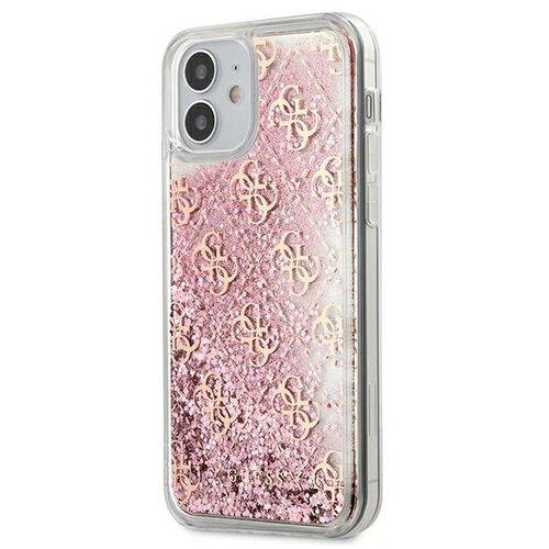 Etui GUESS 4G Liquid Glitter do Apple iPhone 12 mini Różowy