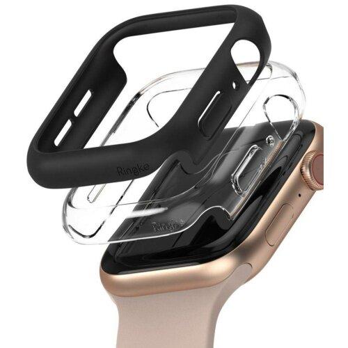 Etui RINGKE Slim do Apple Watch 4/5/6/SE 44mm 2 sztuki Przezroczysty/Czarny