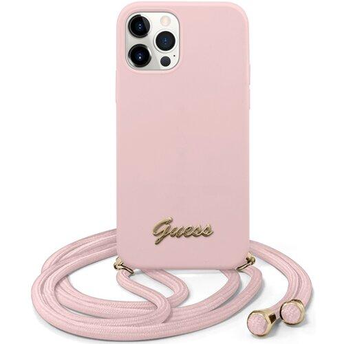 Etui GUESS Metal Logo Cord do Apple iPhone 12/12 Pro Różowy