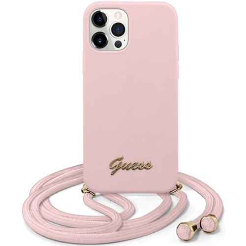 Etui GUESS Metal Logo Cord do Apple iPhone 12 Pro Max Różowy