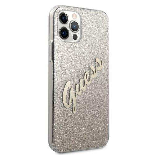 Etui GUESS Glitter Gradient Script do Apple iPhone 12 Pro Max Złoty