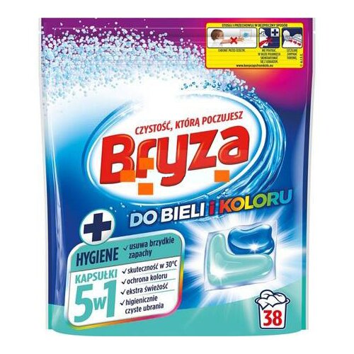 Kapsułki do prania BRYZA 5W1 Hygiene do bieli i koloru 38 szt.