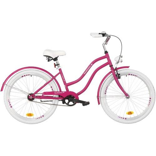 Rower młodzieżowy INDIANA X-Cruiser Jr 24 cale dla dziewczynki Fioletowy