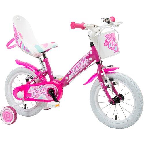 Rower dziecięcy MBM Candy 14 cali dla dziewczynki Fuksja