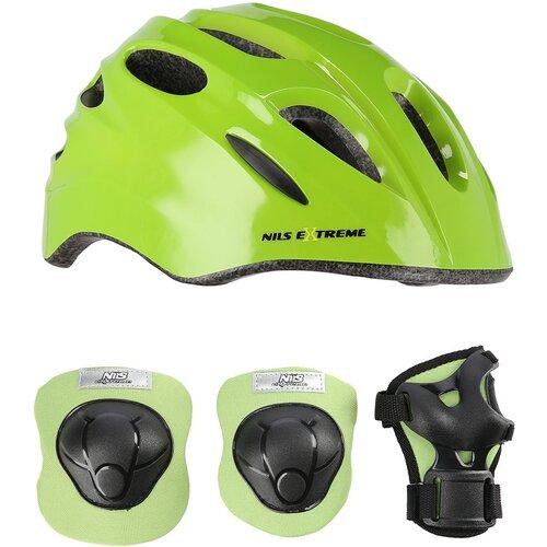 Kask rowerowy NILS EXTREME MTW01 Zielony dla Dzieci (rozmiar XS) + Zestaw ochraniaczy H210