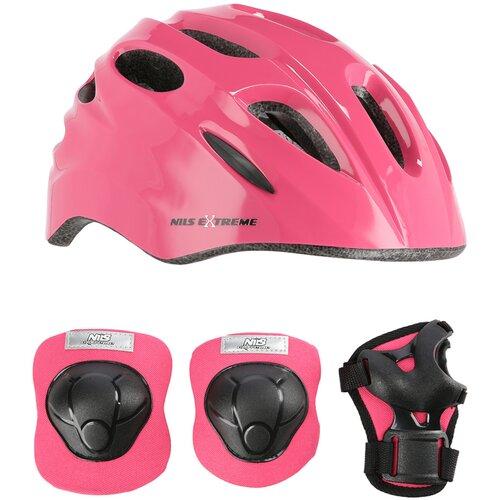 Kask rowerowy NILS EXTREME MTW01 Różowy dla Dzieci (rozmiar XS) + Zestaw ochraniaczy H210