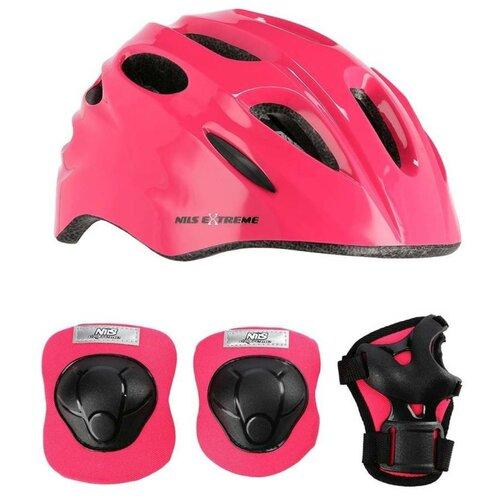 Kask rowerowy NILS EXTREME MTW01 Różowy dla Dzieci (rozmiar S) + Zestaw ochraniaczy H210
