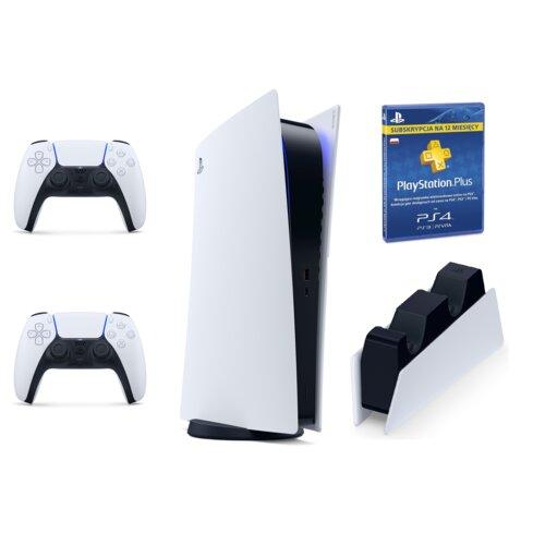 Konsola SONY PlayStation 5 Digital + PlayStation Plus 365 + Kontroler DualSense + Ładowarka