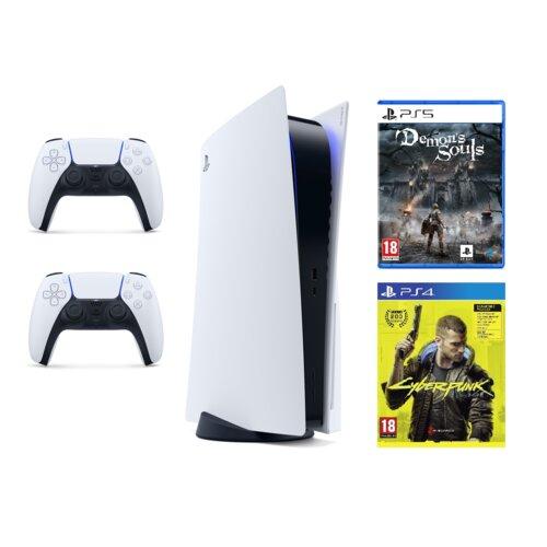 Konsola SONY PlayStation 5 + Kontroler DualSense + Demon's Soul + Cyberpunk 2077