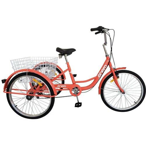 Rower trójkołowy ENERO 1017044 6B 24 cale damski Czerwony