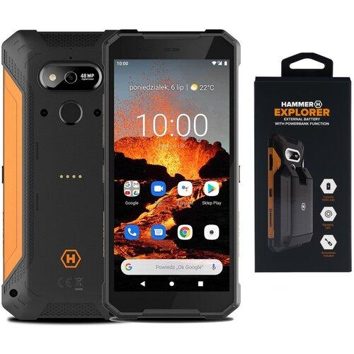 "Smartfon HAMMER Explorer Pro 6/128GB 5.7"" Pomarańczowy + Bateria"