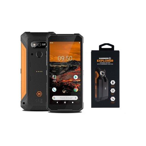 """Smartfon HAMMER Explorer 3/32GB 5.72"""" Pomarańczowy + Bateria zewnętrzna"""