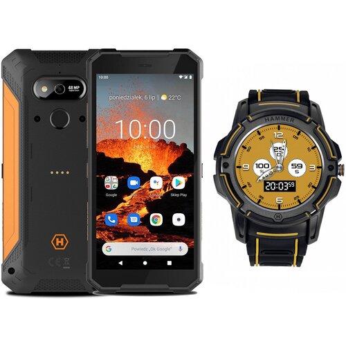 """Smartfon HAMMER Explorer Pro 6/128GB 5.7"""" Pomarańczowy + Smartwatch"""
