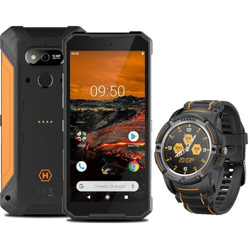 """Smartfon HAMMER Explorer 3/32GB 5.72"""" Pomarańczowy + Smartwatch Hammer Watch Czarny"""