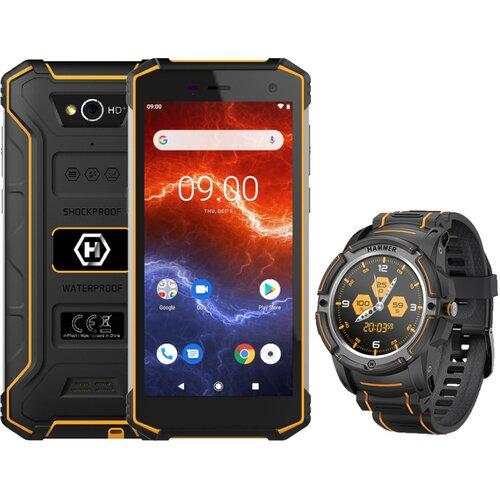 """Smartfon HAMMER Energy 2 3/32GB 5.5"""" Pomarańczowy + Smartwatch Hammer Watch Czarny"""