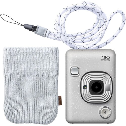 Aparat INSTAX Mini LiPlay Biały + Pokrowiec + Pasek na szyję