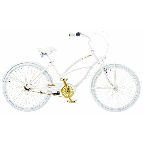 Rower miejski PLUMBIKE La Donna 3B 26 cali damski Biało-złoty