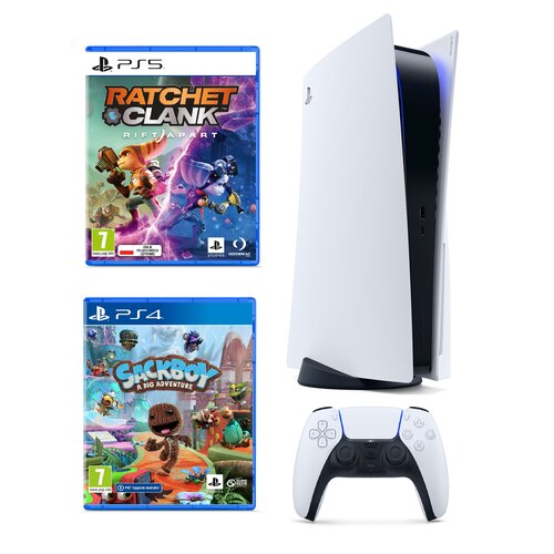 Konsola SONY PlayStation 5 + Ratchet i Clank: Rift Apart + Sackboy a Big Adventure