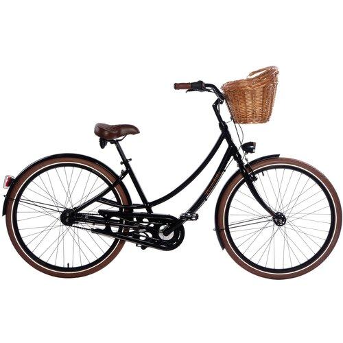 Rower miejski z koszykiem PLUMBIKE Donatella Lady 7B 28 cali damski Czarny
