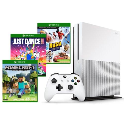 Konsola MICROSOFT XBOX ONE S 500GB + Kontroler Kinect + Gra Minecraft + Gra Just Dance 2018 + Gra Rush: Przygoda ze studiem Disney Pixar + 9M Live Gold